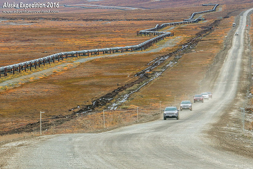 Our convoy of cars driving on the Dalton Highway.